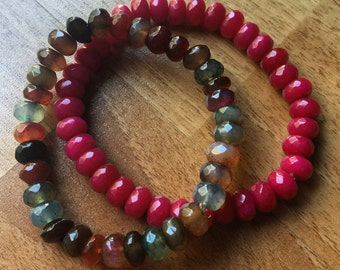Gorgeous Berry Mix of Agate and Jade Bracelets
