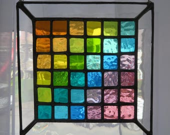 Spring Pixel Panel! Beautiful Graded Colours Stained Glass Suncatcher - pewtermoonsilver