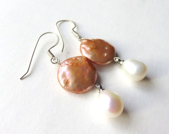 Coin Pearl Earrings, Apricot Pearl Drops, Dainty Circle Earrings, Destination Wedding, Sterling Silver, One of a Kind Gift, Peach and White
