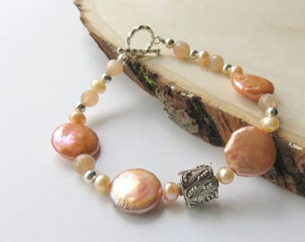 Freshwater Coin Pearl Bracelet, Peach Moonstone and Pearl, Apricot, Nautical Pearl Jewelry, Beaded Pearl Bracelet, Sterling Silver