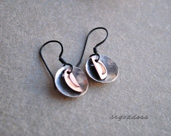 MOONS hammered and oxidized sterling silver and copper earrings by srgoddess