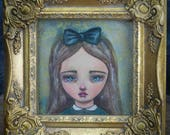 Alice In Wonderland Watercolor portrait by Danita - A whimsical and surreal girl with big green eyes in a one of a kind painting.