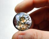 Glass Cabochon -  Wolf Family  - Live Love Laugh - for Jewelry and Pendant Making