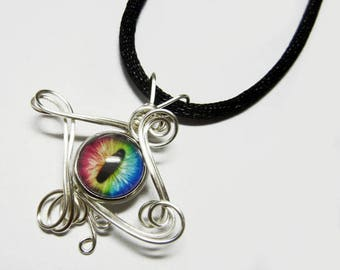 Glass Eye of Horus Evil Eye Pendant - Silver Wire Wrap Human Ra Eyeball Jewelry with Necklace