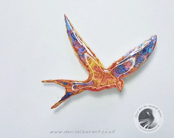 Flying Bird Brooch, Colorful Bird Pin,  In A Gift Box
