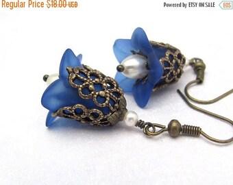 Blue Flower Earrings, Vintage Swarovski Crystal Pearls, Lucite Flower, Wedding Bridesmaid, Birthday Gift, Hawaiian Jewelry