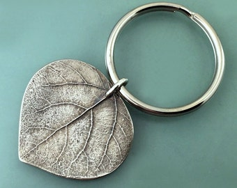 Large Aspen Leaf Key Ring or Key Chain