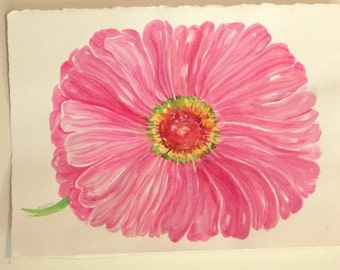 Big pink zinnia watercolor painting original, pink flower painting 11 x 15 Floral Wall Art, watercolor of pink zinnia, zinnia wall art