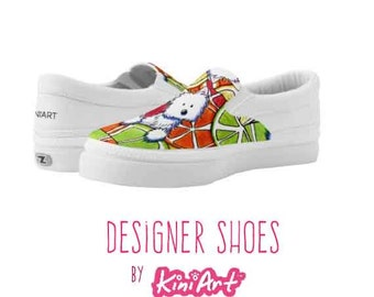 KiniArt Citrus Westie Zipz Shoes Lowtop Sneakers or Slip-ons