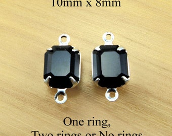Black Glass Beads - 10x8 Octagon in Silver or Brass Settings - Opaque Rhinestone Jewels - 10mm x 8mm - Jewelry Supply - One Pair