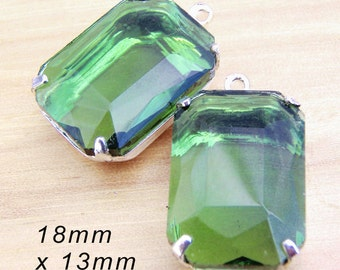 Leaf Green Glass Beads - Framed Glass Pendant or Earring Jewels - Sheer - 18mm x 13mm Octagons - Rhinestone Glass Gems - Cabochon - One Pair