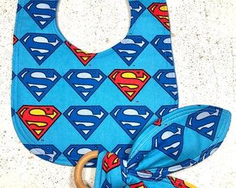 Superman Baby Bib Baby Teething Ring- You Choose