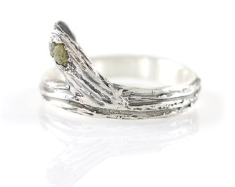 Tree Bark Branch with Rough Diamond in Palladium Sterling Silver - Made to Order