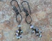 Ethiopian OPAL earrings, Opal hoop cluster earrings, Sterling silver, handmade by Angry Hair Jewelry