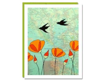 San Francisco Map Card // Bay Area Card // Artist Card // California Poppy Card // Bird Card // San Francisco // Rachel Austin