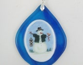 Fused Glass Snowman Ornament 2