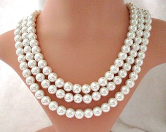 Lustrous Triple Strand Faux Pearl Vintage Necklace - Multi Three Strand Necklace - Bride Wedding Necklace Jewelry
