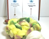 Drop Spindle Spinning Kit, Free Shipping, Double Kit  Has Top and Bottom Whorl Spindles Colorway, Sunflowers,