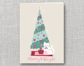 Merry & Bright Holiday Notecard Instant Download PDF