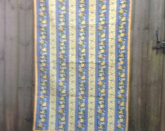 Blue and Yellow Stripe Lap Quilt FREE SHIPPING