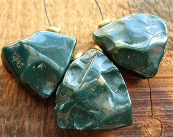 Hammered Tumbled Kale Green Indian Agate Triangle Bead Set - 3 pieces - 19 to 23mm