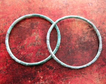 27mm Notched Copper Soldered Circles in Verdigris - 1 pair - 16 gauge Patina Links
