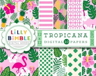 40% off Tropical Flamingo digital paper, palms, fronds, scrapbook papers, pineapple, pool party, Instant Download