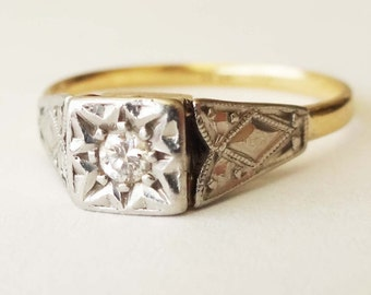 Art Deco 18k Gold, Platinum and Diamond Engagement Ring, Vintage Aztec Tribal Design Ring Approx Size 8