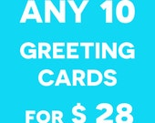 CHOOSE ANY 10 Greeting Cards for 28 - Custom Sets - Funny Animal Pun Cards - Valentines - Couple - Anniversary - Love - Friendship