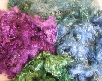 Hand Dyed Mohair Locks - Beach Glass  -  3 ounces - Free Domestic Shipping