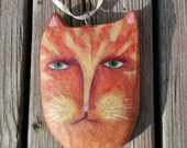 Cat Ornament, Orange Tabby Cat, Cat Folk Art, Whimsical Decor, Christmas Ornament, Cat Lover Gift, Holiday, Funky Decoration, Unique, Cute
