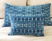 NEW Indigo Dyed Throw Pillows, Shibori, Anna Joyce, 20 x 20, Down Filled