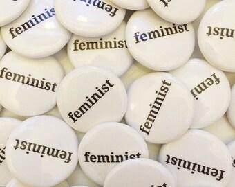 ON SALE FEMINIST Button, Lapel Pin, Anna Joyce, Portland, Or