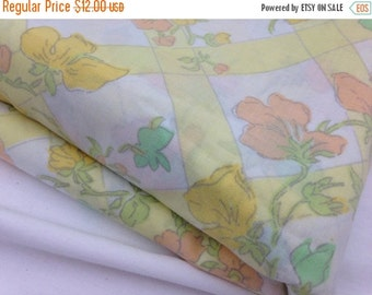 40% OFF- Vintage Flat Sheet-Lovely Garden in Yellow- Twin Flat