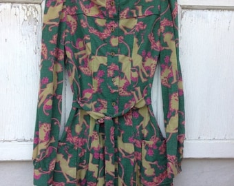 40% OFF- Vintage Knit Dress-Whimsical Frock-Green Button Front-Small