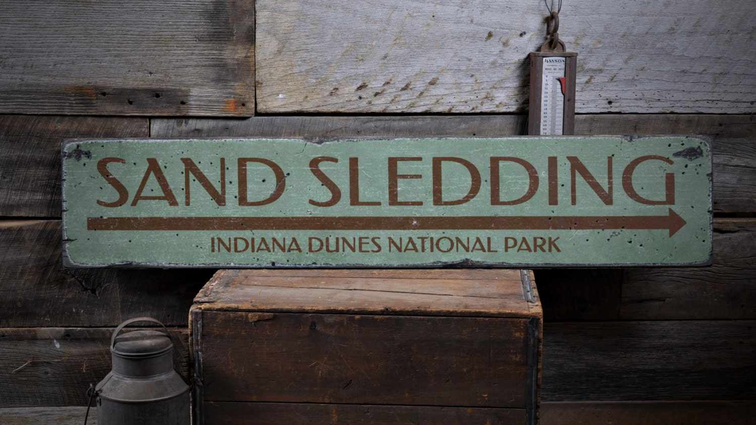 Sand Sledding Arrow Wood Sign Personalized Indiana Dunes
