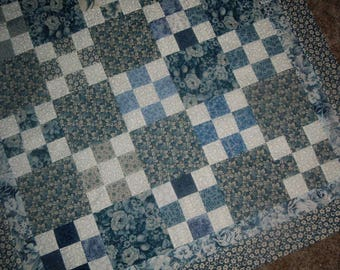 Blueberry Checkerboard Nine Patch Table Topper Quilt to Finish 37 x 37 inches