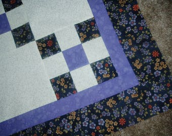 Quilt Top to Finish Purple Floral Irish Chain 48 x 48 inches