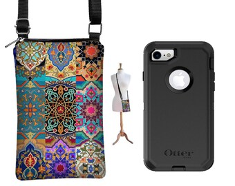 iPhone 7 / Plus Case or iPhone 6 / Plus  Case  fits Otterbox Defender Covers, Small Cross Body Bag colorful Boho Bohemian fabric case RTS