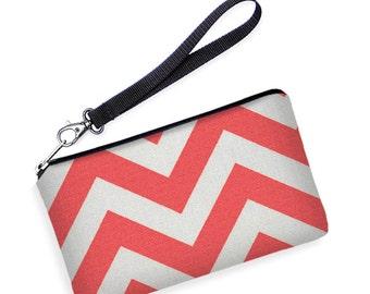 SALE Women's Phone Wallet, Removable Strap, Smartphone Wristlet, iPhone 6 Plus Case, Galaxy Note Edge Purse, Lumia  coral red white chevron
