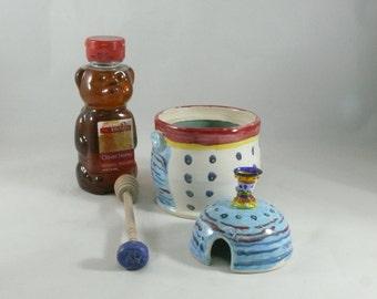 Honey jar + dipper with glass knob , Ceramic Handmade Honey Pot with matching honey dipper, jam pot or jelly jar, honey bee 682