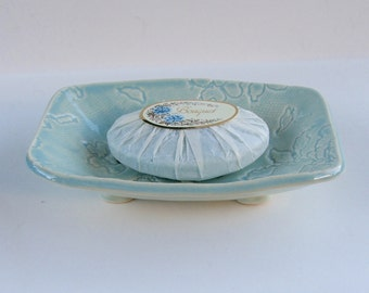 Ceramic Soap Dish, Handmade, Footed, Lacy Blue Green