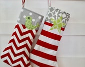 Two Christmas Stockings - RESERVED for carolyndw - Christmas Stockings - Red Gray Christmas Stockings - Holiday Stockings