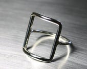 SALE TODAY Silver Square Ring, Rectangle Ring, Geometric Ring
