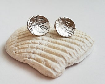 Foliage Stud Earrings in Argentium Silver