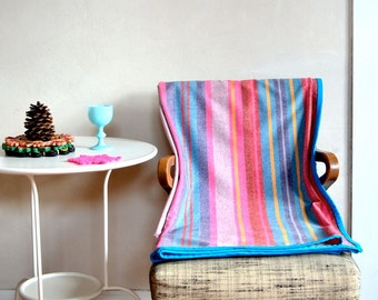 Bright Striped Throw Pink Blue Yellow Heathered Stripe Design Lightweight Fabric Large Size