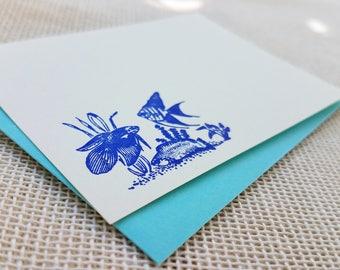 Letterpress Enclosure Card - Aquarium Fish