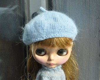 Babydoll Longhair Angola Wool blue Beret for Blythe Doll