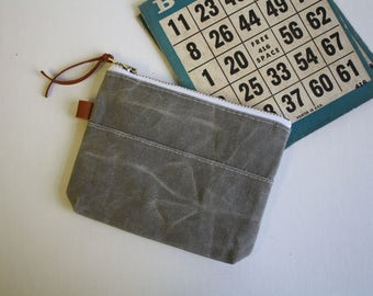 Waxed canvas - small zipper pouch -  metal
