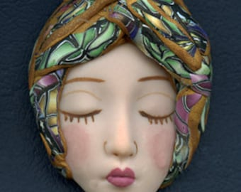 Polymer Clay One of a Kind   Detailed  Art Doll Face with hat Cab  NFH 1